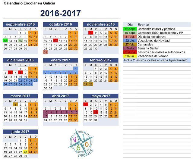 Calendario escolar de Galicia 2016-2017 en formato JPG