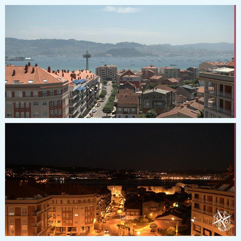 Vista diurna y nocturna desde el Hotel Spa Bienestar Moaña