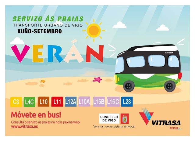Líneas de autobús que van a las playas de Vigo