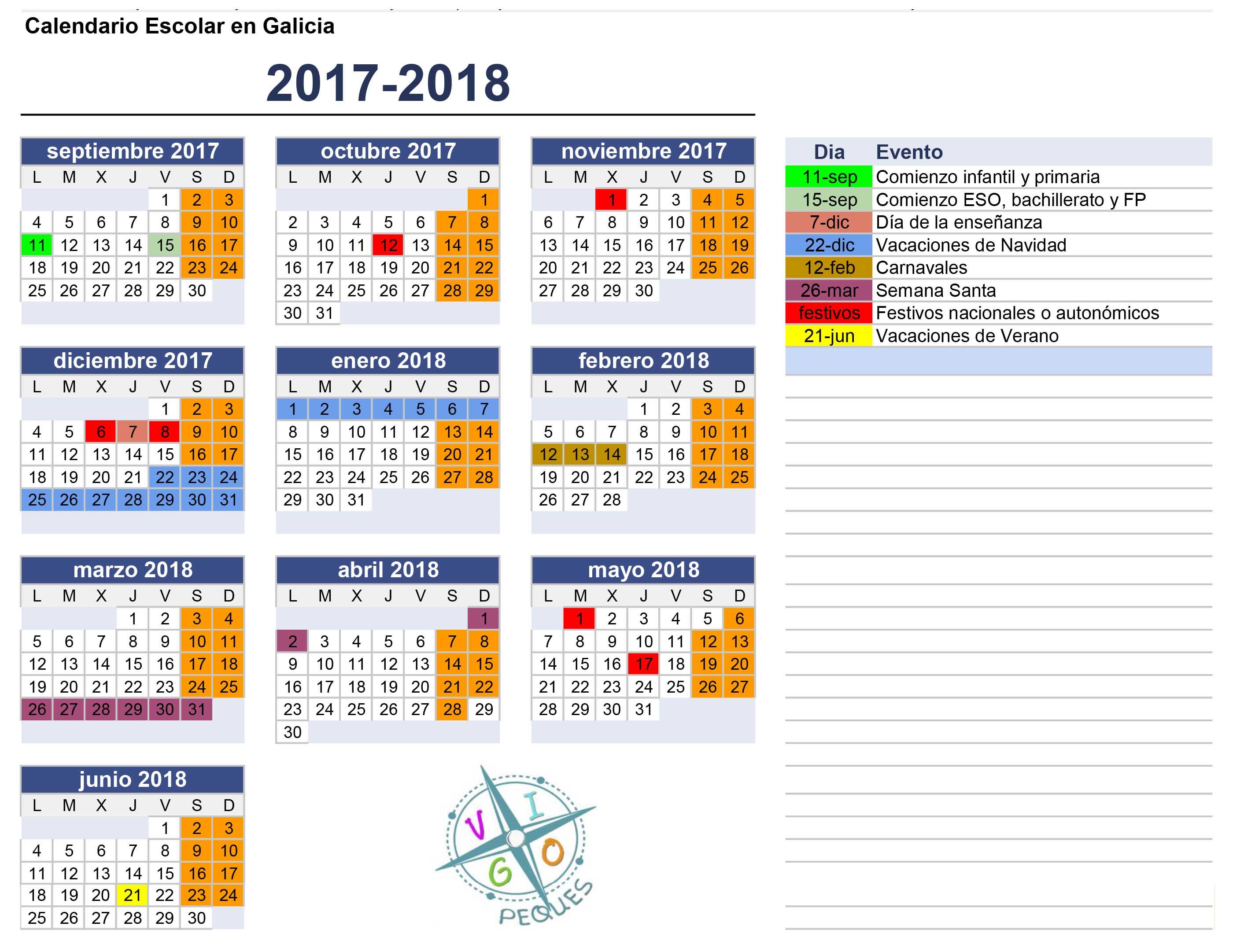 Calendario escolar de Galicia 2017-2018 en formato JPG