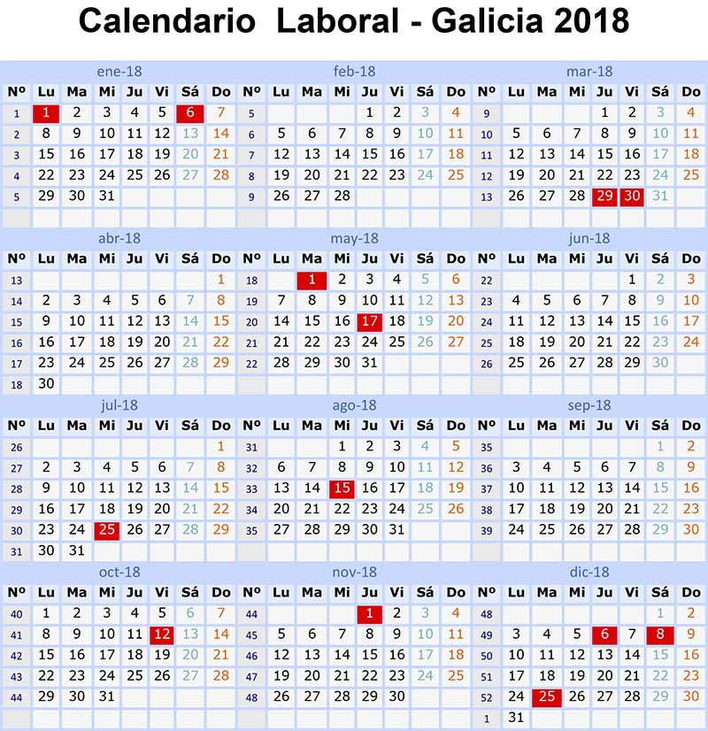 Calendario laboral 2018 galicia y son 15 festivos for Calendario eventos madrid