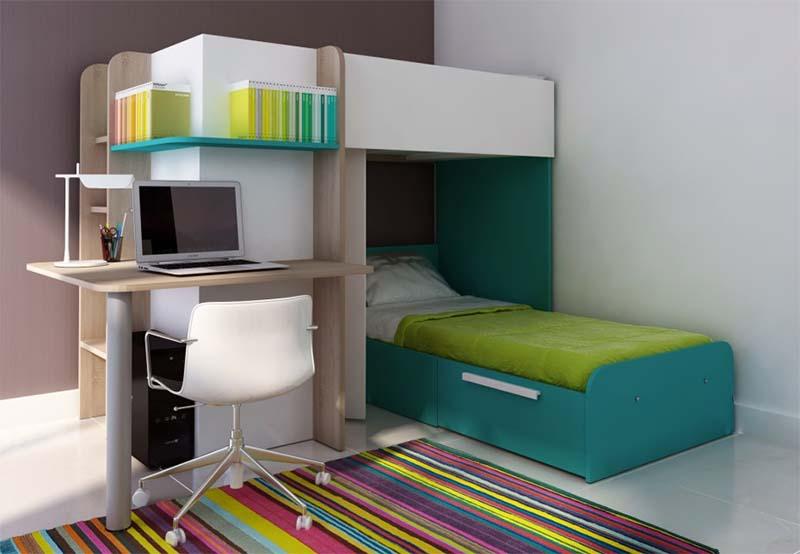 Cama litera con escritorio debajo affordable interesting perfect top camas con escritorio - Cama con escritorio abajo ...