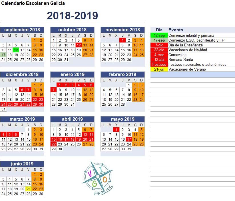 Calendario Escolar Galicia 2020 Y 2019.Calendario Escolar Galicia 2018 2019 Vigopeques