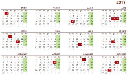Calendario laboral 2019 en Galicia
