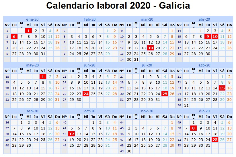 Calendario Laboral Construccion 2020.Calendario Laboral 2020 En Galicia Vigopeques