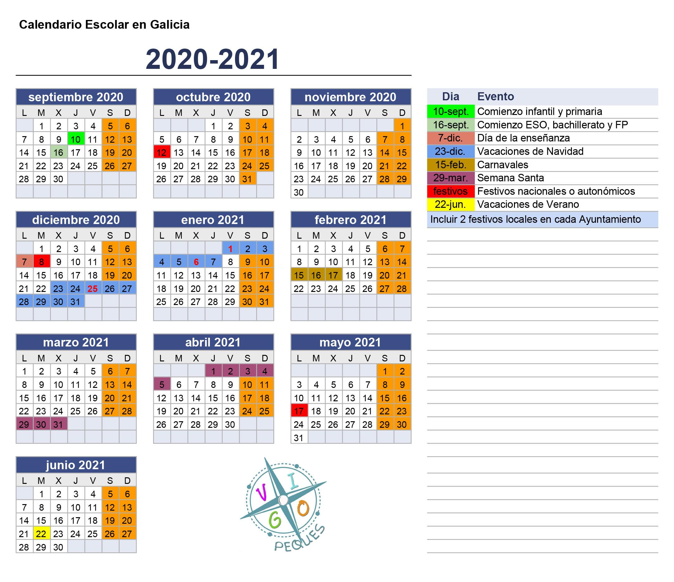 Calendario Escolar De Galicia 2020 21 Vigopeques
